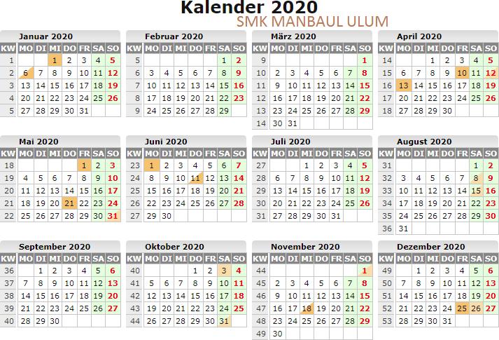 AGENDA KEGIATAN SEMESTER GENAP TAHUN PELAJARAN 2019/2020. SMK MANBA'UL 'ULUM